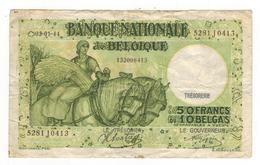Belgium 50 Fr (10 Belgas) 1944, Used, See Scan. - [ 2] 1831-... : Koninkrijk België
