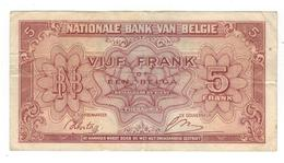 Belgium 5 Fr (1 Belgas) 1943, Used, See Scan. - [ 2] 1831-... : Reino De Bélgica