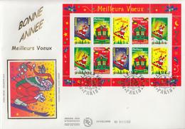 Enveloppe  FDC  Grand  Format  1er  Jour   Bloc  Feuillet     MEILLEURS  VOEUX   1998 - FDC