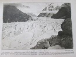 1925 La Traversée De La Mer De Glace   Au Montanvert Sérac Dessin De Georges Leroux  Réchauffement Climatique Montagne - Vecchi Documenti