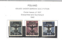 Polonia Occup.Ted.1940 Polish Em.1937 Ovpr. E Surch.Scott.N 30+31+32 NEW See Scan On Scott.Page - 1939-44: 2ª Guerra Mundial