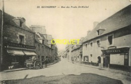 22 Guingamp, Rue Des Ponts St Michel, Charrette Devant La Boucherie...., Cliché Pas Courant - Guingamp