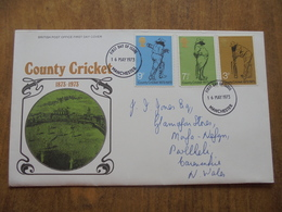 S045: FDC: COUNTY CRICKET 1873-1973.  3p, 7.5p, 9p. 16 MAY 1973 Manchester. BRITISH POST OFFICE FIRST DAY COVER. - FDC