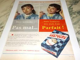 ANCIENNE PUBLICITE PATE ALIMENTAIRE OEUF FRAIS LUSTUCRU 1956 - Posters