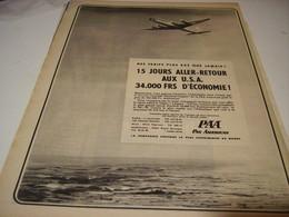 ANCIENNE PUBLICITE PAN AMERICAN DC-7B  1956 - Publicités