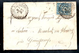 Petite Enveloppe Plouguernevel, Cachet Perlé Double 1897 Pour Guingamp - 1877-1920: Période Semi Moderne