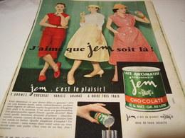 ANCIENNE PUBLICITE CHOCOLATE JEM DE NESTLE 1956 - Posters