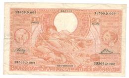 Belgium, 100 Fr (20 Belgas) 1944, F/VF. Rare. - 100 Francs-20 Belgas
