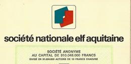 """GRANDEUR DE LA FRANCE EN AFRIQUE LA """"FRANCE-AFRIQUE"""" RARE ACTION Sté NATIONALE ELF AQUITAINE  B.E.VOIR SCANS+HISTORIQUE - Pétrole"""