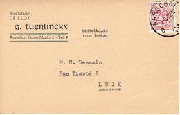 """Postkaart Publicitaire 1952 AARSCHOT - """"DE KLOK"""" G. TUERLINCKX - Boekhandel - Aarschot"""
