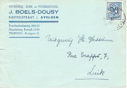 Postkaart Publicitaire AVELGEM 1952  - J. BOELS-DOUSY - Drukkerij-Boek- En Papierhandel - Avelgem