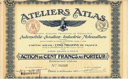 1917 ATELIERS ATLAS PARIS LEVALLOIS AUTOMOBILE AVIATION INDUSTRIE MOTOCULTURE B.Z.VOIR SCANS - Automobile