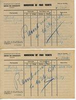 RATIONNEMENT BORDEREAU DE FAUX TICKETS DE CARBURANT AUTO GIRONDE BORDEAUX 1948 CACHETS UNION COMMERCIALE DE L'EPICERIE - Historical Documents