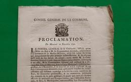 D-FR Révolution 1790 Proclamation Du Mercredi 10 Novembre 1790 Conseil Général De La Commune De Paris - Documents Historiques