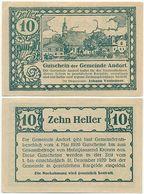 Andorf Bei Schärding, 1 Schein Notgeld 1920, Ort Kirche, Österreich 10 Heller - Oesterreich