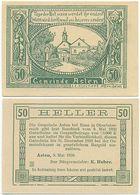 Asten Bei Enns, 1 Schein Notgeld 1920, Ort Mit Kirche, Österreich 50 Heller - Oesterreich