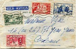 CAMEROUN LETTRE PAR AVION AVEC AFFRANCHISSEMENT COMPLEMENTAIRE AU DOS DEPART DOUALA 19 VI 37 CAMEROUN POUR LA FRANCE - Cameroun (1915-1959)