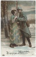 Carte Bonne Année Poilu Et Femme Couple - Patriotique - Militaria - Guerre 14 - 18 - Guerre 1914-18