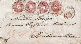 CTN54A- ALLEMAGNE ANCIENS ETATS  SAXE 1G BANDE DE 3 + 1 SUR LETTRE GRIMMA / FONTAINEBLEAU 11/8/1867 DECOUPURE A GAUCHE - Saxe