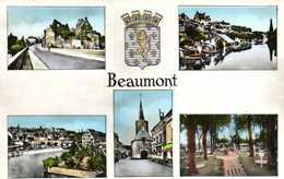 Cpsm Petit Format BEAUMONT Sur SARTHE  Multivues Colorisée   RV - Beaumont Sur Sarthe