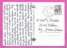 Carte Postale Type COQ  Obliteration Hexagone Tirets CREST VOLAN  SAVOIE     1966 - Postmark Collection (Covers)