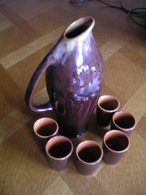 USSR Clay Pitcher With 6 Shots - Ceramics & Pottery