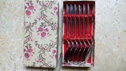 Durinox - Coffret Carton Aux Fleurs - 6 Petites Cuillères Plates-  Spécial Glace & Dessert Glacé - Inox - Vers 1960 - Spoons