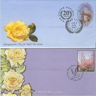 Nations-Unies 2001 -  2 Aérogrammes FDC - Roses - Fleurs - New-York - Siège De L'ONU
