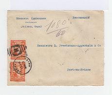 Sur Enveloppe Recommandée Douze Timbres Haïti 3 C. Orange P. Stenio Vincent. CAD Jacmel 1936. (791) - Haïti