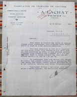 74 PRINGY Fabrication De Fromages De Gruyere A. LACHAT Emmentals & Comtes - Invoices