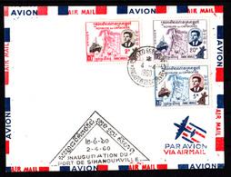 CAMBODGE - N° 84/86 - INAUGURATION DU PORT DE SIHANOUKVILLE Le 2.4.60.SUR LETTRE AVION. - Cambodia