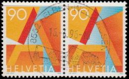 Suisse 1995. ~ YT 1498 Paire Par 4 - Courrier Prioritaire - Gebraucht