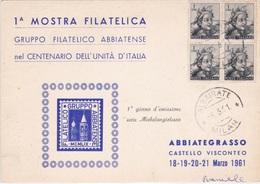 1° GIORNO DI EMISSIONE 6-3-1961 ABBIATEGRASSO    FILATELICO 1° MOSTRA FILATELICA    AUTENTICA 100% - Altri