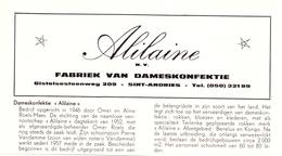 Pub Reclame Org. Knipsel Tijdschrift - Damesconfectie Alilaine - Sint Andries Ca 1961 - Publicités