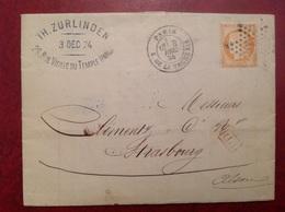 Zurlinden 1874 Paris Oblit. Étoile 13? Pour Strassburg PD - Marcophilie (Lettres)