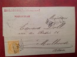 Rosenburger 1873 Marseille Pour Mulhausen Oblitéré Losange LM 2 Via Paris Belfort - Marcophilie (Lettres)