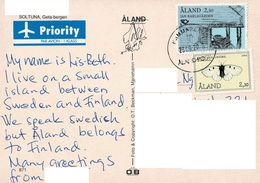 23A : Aland House And Moth Stamp Used On Sotuna Postcard - Aland