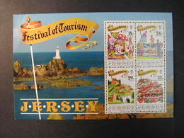JERSEY 1990 - FESTIVAL DE TURISMO - FAROS - GOLF - YVERT BLOCK Nº 5 - Water-skiing