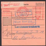 Wert-Paketkarte Mit AFS =610=, Zentralbank München 3, Schalter 8,  23.9.77 Nach Rosenheim - [7] Federal Republic