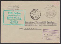 """WUTHA ZKD-Brief """"VEB Petkus Landmaschinenwerk"""", KSt. In Grün Statt Violett 17.10.67, SoSt. 115 Jahre, Abb. Trockenanlage - Service"""