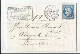 Lettre - Deveaux Walter Banquiers à Bourbonne Les Bains - 52 Haute Marne 1873 - YT 60A - 25 C Ceres - 1862 Napoleon III