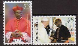 St. Lucia 2014 Christmas, Cardinal Felix & Pope Francis Set Of 2, MNH (SG 1427/8) - St.Lucia (1979-...)