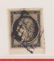 N  3  /    20 Centimes  Noir Sur Jaune   / Oblitéré - 1849-1850 Cérès