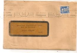 1955 ENVOI DE COMPTOIR NATIONAL D'ESCOMPTE DE PARIS   NIMES  TIMBRE PERFORE CNEP MARIANNE DE GANDON - Perforés