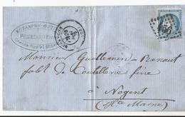 Lettre -  - Estampes Optique Pellizzaro à Besançon 1875 - Tampon Pub - Publicité - YT 60A - Cérès 25 C - 1862 Napoleon III
