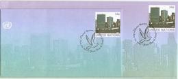 Nations-Unies à New York 2001 - 2 FDC / Entiers Postaux - Gd Et Pt Formats - New-York - Siège De L'ONU