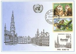 ONU Genève 1998 - 2 FDC - Espèces Menacées D'extinction - Macaque - Daim - Flamant -  Romafil'98 - Phil Euro'98 - Cartes-maximum