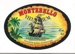 Etiquette  Vieux RHUM MONTEBELLO  - 45% 75 Cl - Distillerie Carrère - GUADELOUPE - Nouveau Modèle - - Rhum