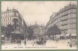 """CPA - """"TOUT PARIS"""" - LA GARE DU NORD AU BOULEVARD MAGENTA - Animation, Attelages, Fourgon  """"Lait Duval"""" - F.F. 48 - Metropolitana, Stazioni"""