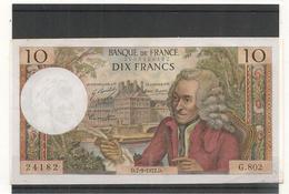 10 Francs  VOLTAIRE - 7 / 09 / 1972 - ALPHABET G  802  -   TTB +  -  Billets° JPP - 1962-1997 ''Francs''